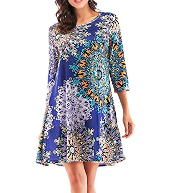 c8be63be932 Women s Plus Size O-Neck Casual Print Dresses