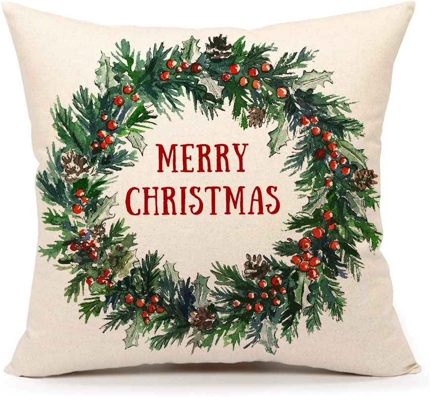 Holly Leaves Wreath Christmas Pillow Cover