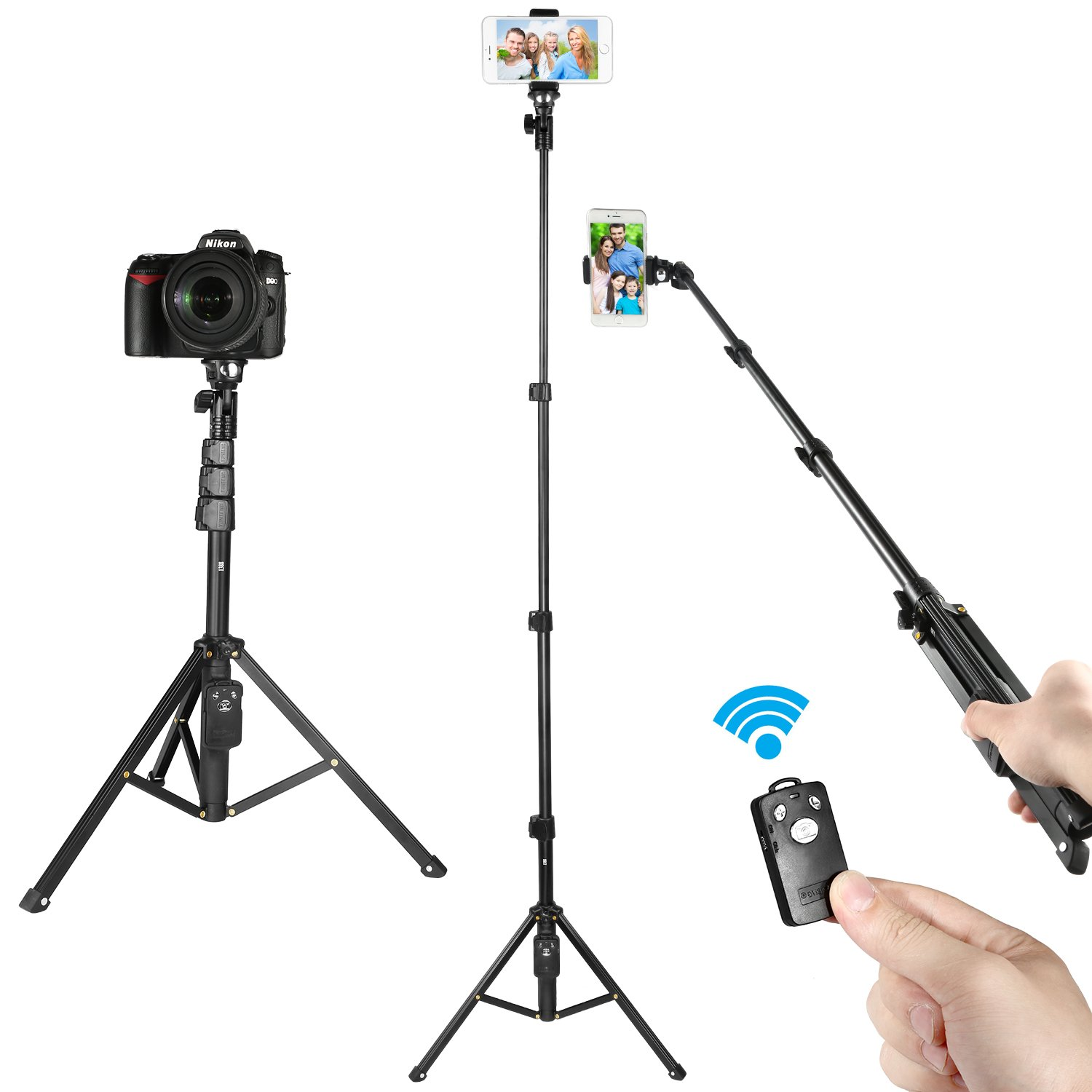 Selfie Stick Tripod, Kamisafe 51 Inch Extendable Selfie Stick Phone Tripod Stand with Wireless Remote Compatible for iPhone Xs MAX XR X 8 7 6 Plus Galaxy S9 S8 S7 Plus Android Phone Gopro Camera