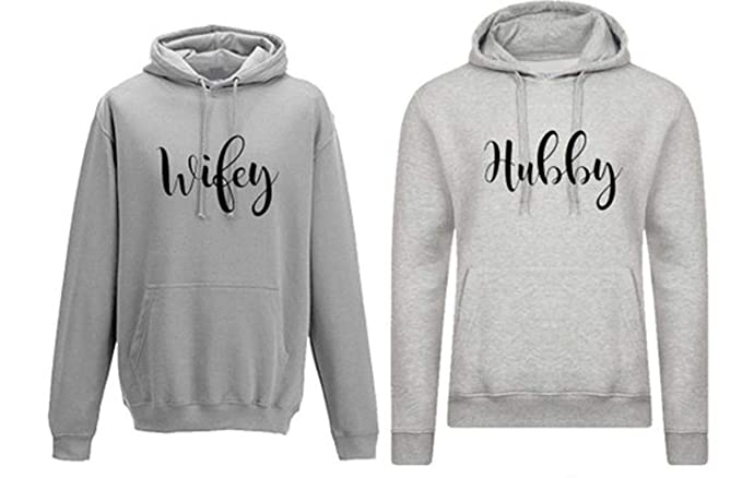 a0e82bd30f Hubby and Wifey Cute Couple Hoodies Funny Matching Outfit Gift (X-Small,  Black
