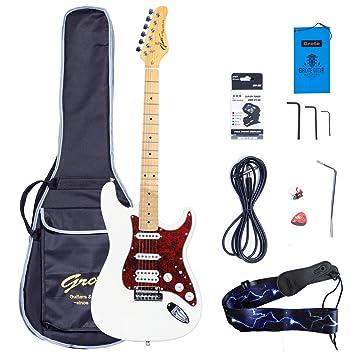 Grote Electric Guitar Classic Custom Chromium Hardware With Gigbag White