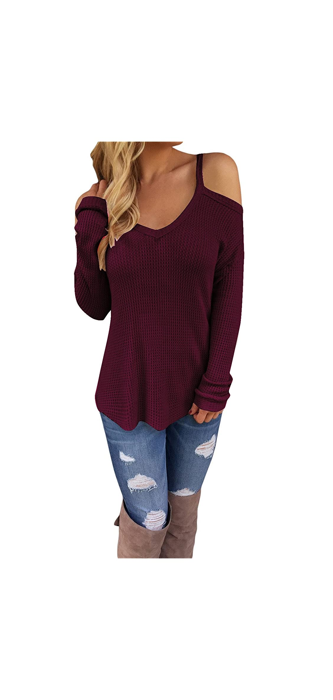 Women's Off Shoulder Loose Casual Knitted Pullover Top