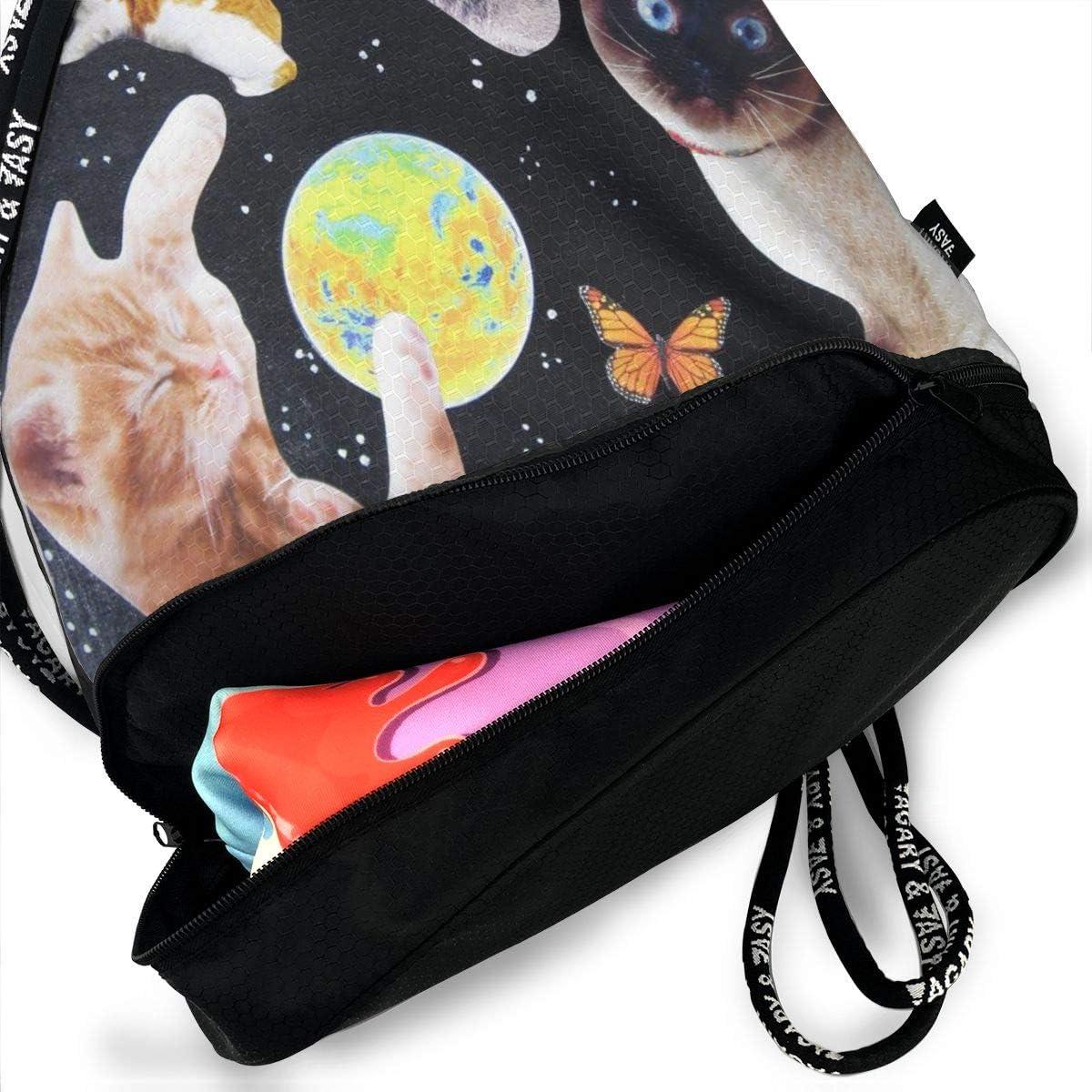 GymSack Drawstring Bag Sackpack Space Cats Sport Cinch Pack Simple Bundle Pocke Backpack For Men Women