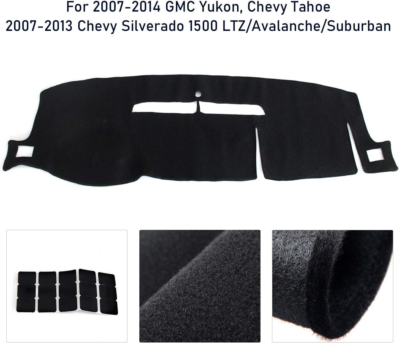 FEXON Dashboard Mat Pad Replacement for GMC Yukon//Chevy Tahoe 2007-2014 Dashboard Cover with Velcro Black Chevrolet Silverado 1500 LTZ//Avalanche//Suburban 2007-2013 Interior Dash Cover