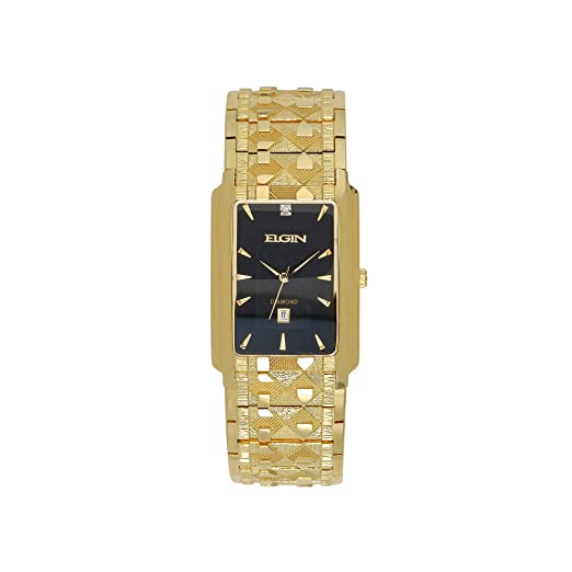Elgin – tono dorado & diamond-accent rectangular reloj fg8014