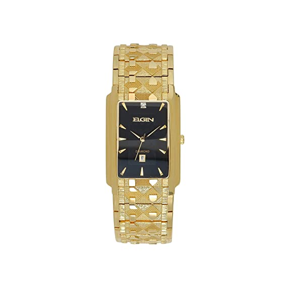 Fg8014 Tono Accent Doradoamp; Diamond Elgin Reloj Rectangular 0ONv8nymw