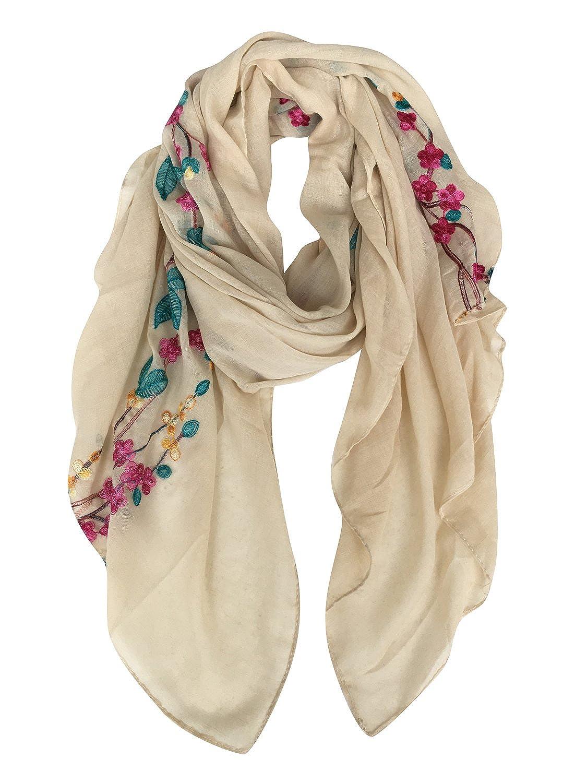 DAMILY Coton Châle Foulard Etole Echarpe avec Fleurs Brodées pour Femmes  Multicolores ec0- 06202c6bab5