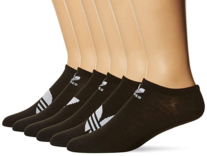 competitive price c4ac1 69215 adidas Mens Originals Trefoil No Show Socks (6-Pack), blackwhite