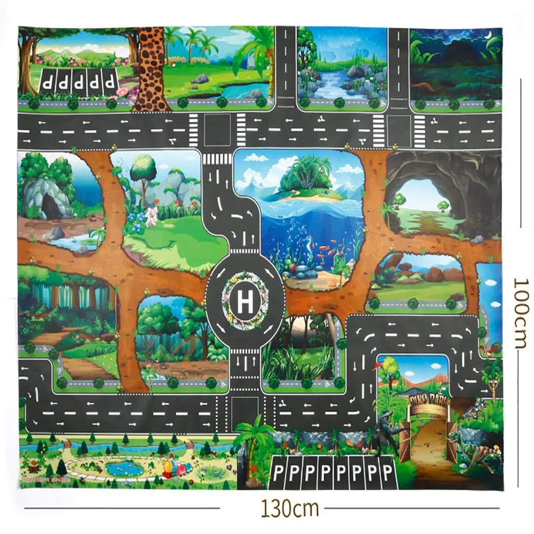 mekolen Tapis de Jeu pour Enfants Dinosaur World Traffic Parking Lot Conception éducation Jeu Intellectuel Jeu de Famille Exercice