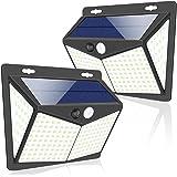 Luces Solares, 2 Paquetes Luz Solar Exterior 208 LED / 3 Modos 270 ° Lámpara Solar Exterior IP65 Impermeable Iluminación Exte