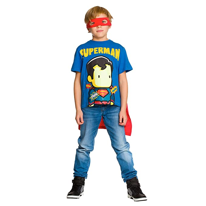 Superman Camiseta de con Capa y La Máscara de Ojo de DC Comics de Algodón Azul Rojo: Amazon.es: Ropa y accesorios