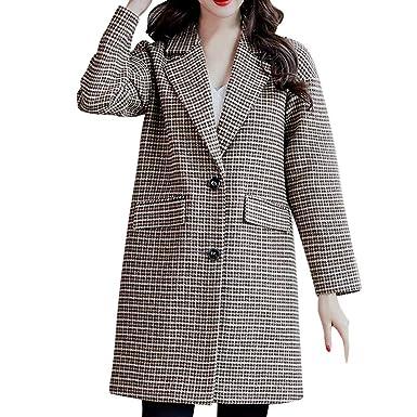 Linlink Liquidación Mujeres de Moda a Cuadros Vintage Invierno cálido botón de Manga Larga Chaqueta de Lana Abrigo Outwear: Amazon.es: Ropa y accesorios