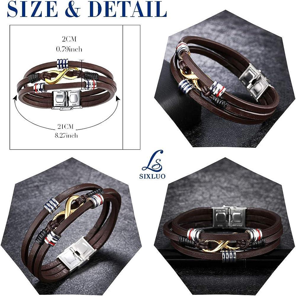 SIXLUO Bracelet homme cuir v/éritable et acier inoxydable Carte de v/œux 3D et Bo/îte-cadeau bracelet multi tiss/é r/églable Marron Cadeau de No/ël Anniversaire pour homme gar/çon le symbole infini