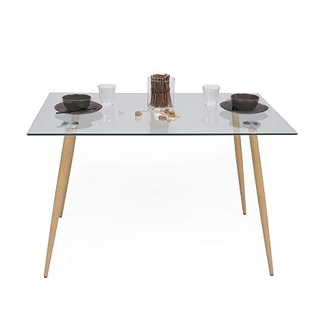 Homely Mesa de Comedor-Cocina Cairo Tapa de Cristal y Patas de Metal símil  Madera Color Roble, 120x80 cm