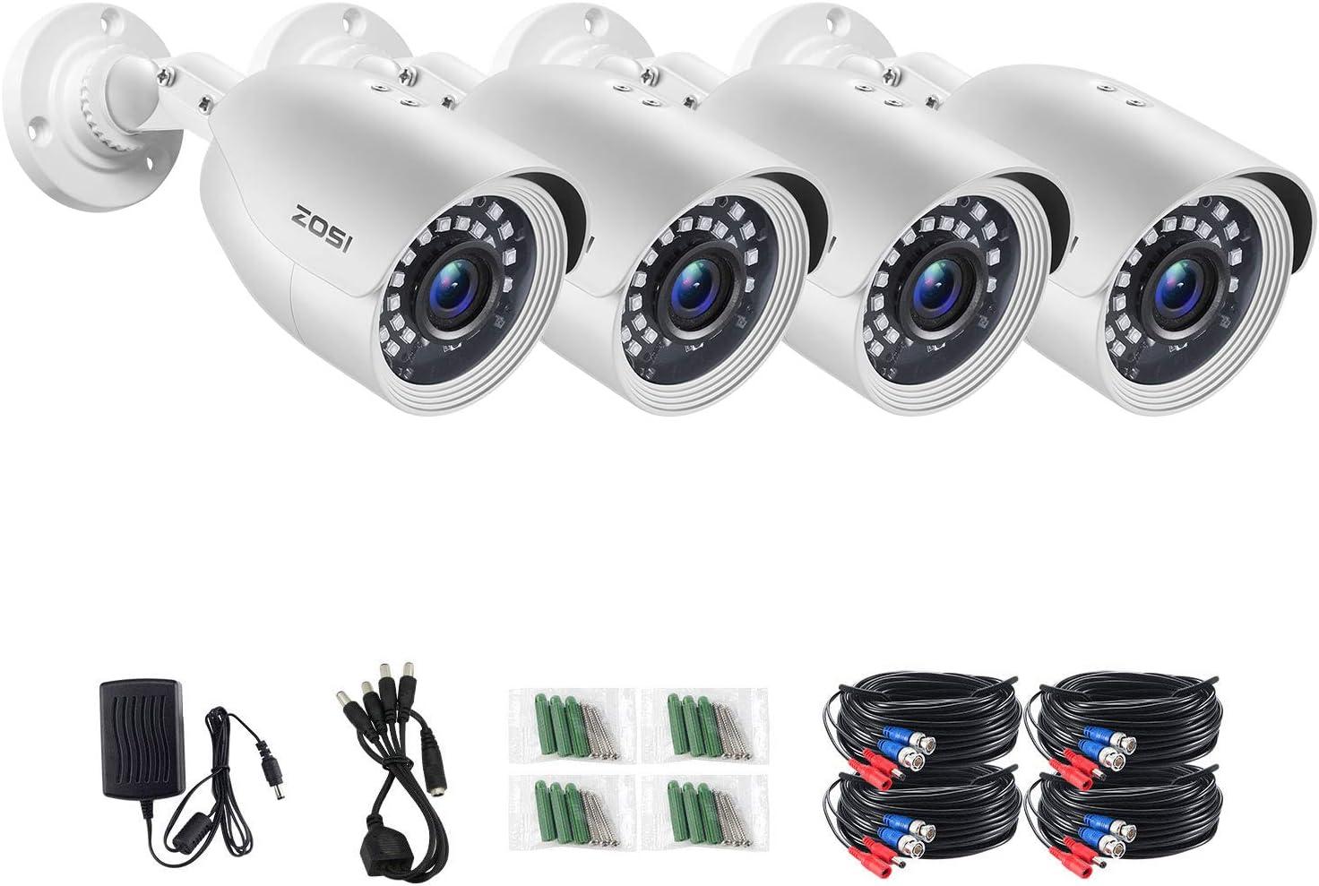 ZOSI 4 Pack 2MP 1080p HD-TVI Security Camera Outdoor Indoor 1920TVL,24PCS LEDs,80ft Night Vision, 90°View Angle, Weatherproof Surveillance CCTV Bullet Camera