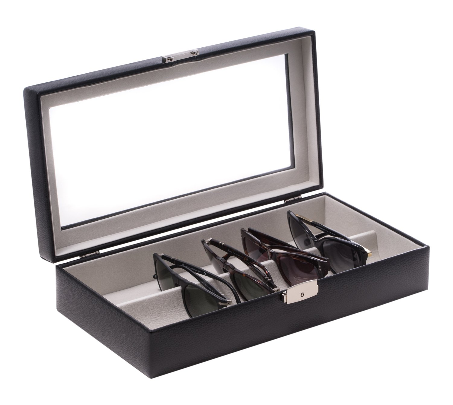 Time Factory AJ-BB643BLK Leather Multi Eyeglass Case with Glass Top and Locking Clasp. Velour lined, Black