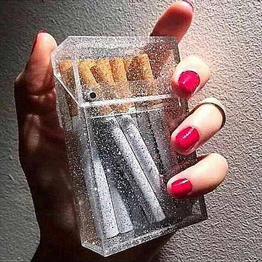 ANNIEC Cigarrillo de Moda Caja de Cigarrillo de la Personalidad Transparente para Fumar Caja de Plástico Portátil Club Nocturno Cigarrillos Cajas de Regalos: Amazon.es: Hogar