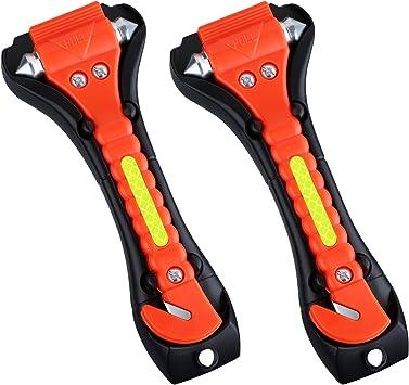 Arancione Ipow Martello di Emergenza di Auto per Rompere Finestra e Tagliare le Cinture di Sicurezza Grande 2 pezzi