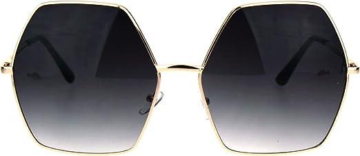 OVERSIZE VINTAGE RETRO Style SUNGLASSES Black /& Gold Octagon Frame Gradient Lens