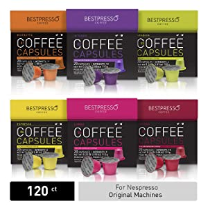 Bestpresso Coffee for Nespresso Original Machine 120 pods Certified Genuine Espresso Variety Pack, Pods Compatible with Nespresso Original