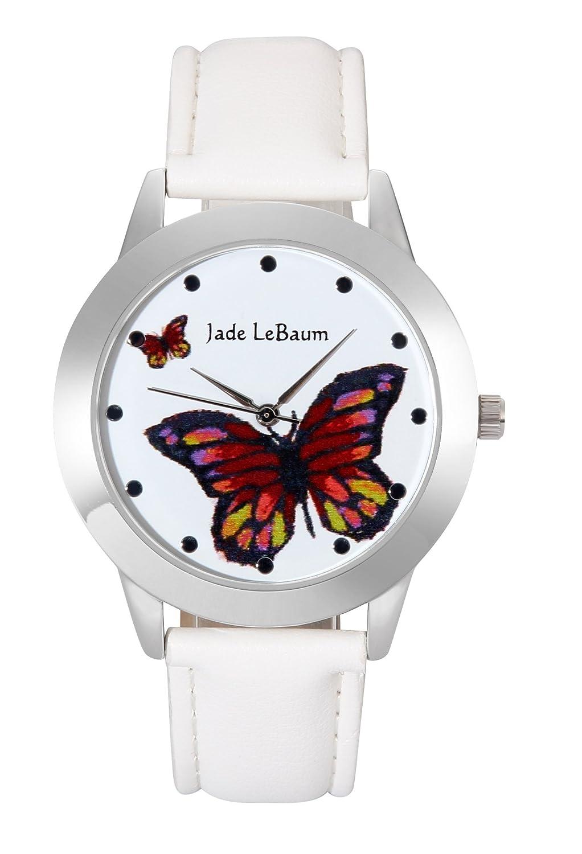 Amazon.com: Jade LeBaum Ladies Butterfly Watch White Leather Band Silver Case Relogio Feminino JB202813G: Watches