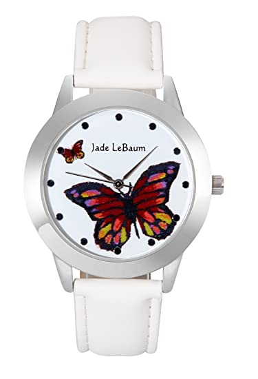 Jade LeBaum Ladies Butterfly Watch White Leather Band Silver Case Reloj de Mujer JB202813G