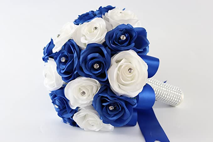 Amazon.com: Bridal Bouquet - Royal Blue White with Ribbon and ...
