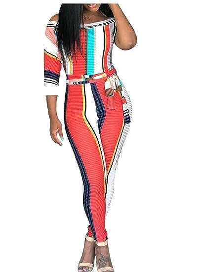 397b53cf7ed6 Amazon.com  WSPLYSPJY Womens Short Sleeve Stripe Print Bodycon Jumpsuits  Rompers  Clothing