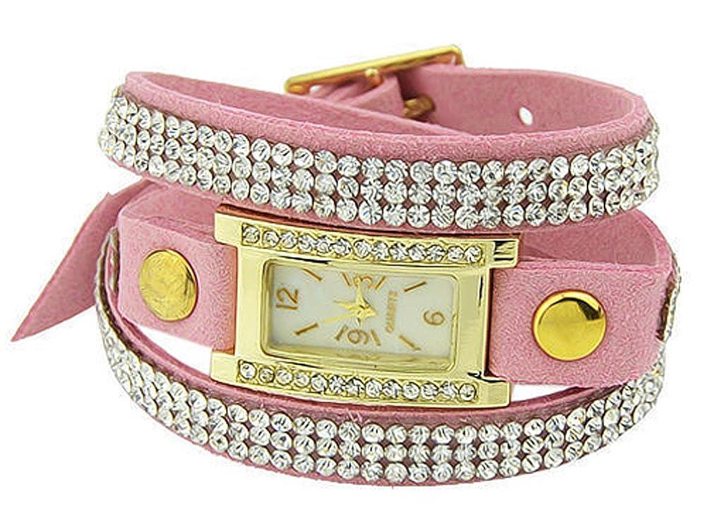 Casual Designer PU Leather Wristband with Rhinestone AmaranTeen