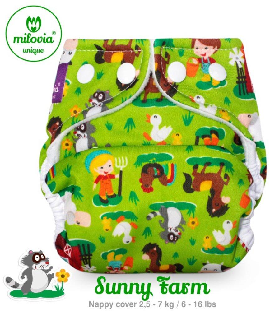 Milovia Überhose für Prefold und Einlagen Sunny Farm (Newborn)