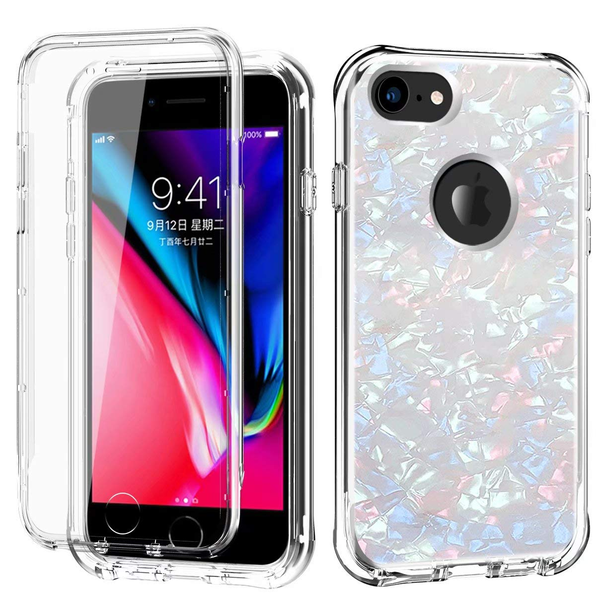 iPhone 6S Plus / 6 Plus Case, Ranyi Full Body Protective Crystal Transparent Cover Hybrid Bumper [Built in Screen Protector] Flexible Resilient TPU Case for 5.5 Inch iPhone 6S Plus /6 Plus (White) by Ranyi