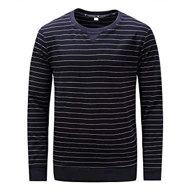 96172c9b042 Comaba Mens Cotton Striped Fitted Crew-Neck Long Sleeve Sweatshirt ...
