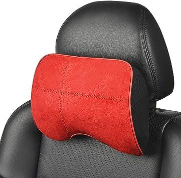 ABEDOE Nackenkissen f/ür Auto PU Leder Pad Atmungsaktive Stuhl Kissen mit Memory Foam Design f/ür Hals Schmerzlinderung Kopfst/ütze kissen
