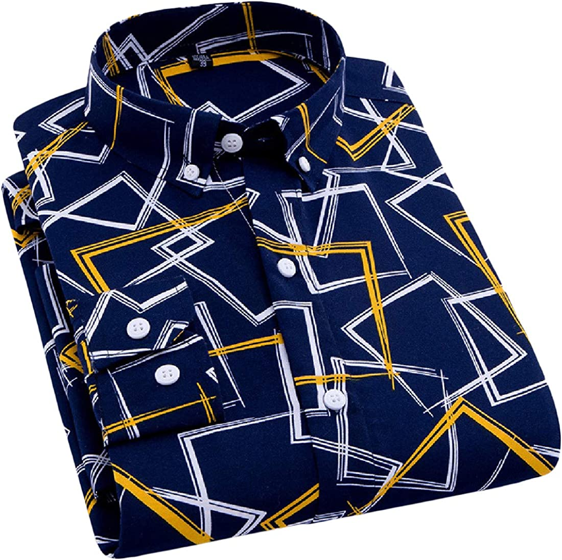 pipigo Mens Long Sleeve Casual Printed Regular Fit Button Down Shirts