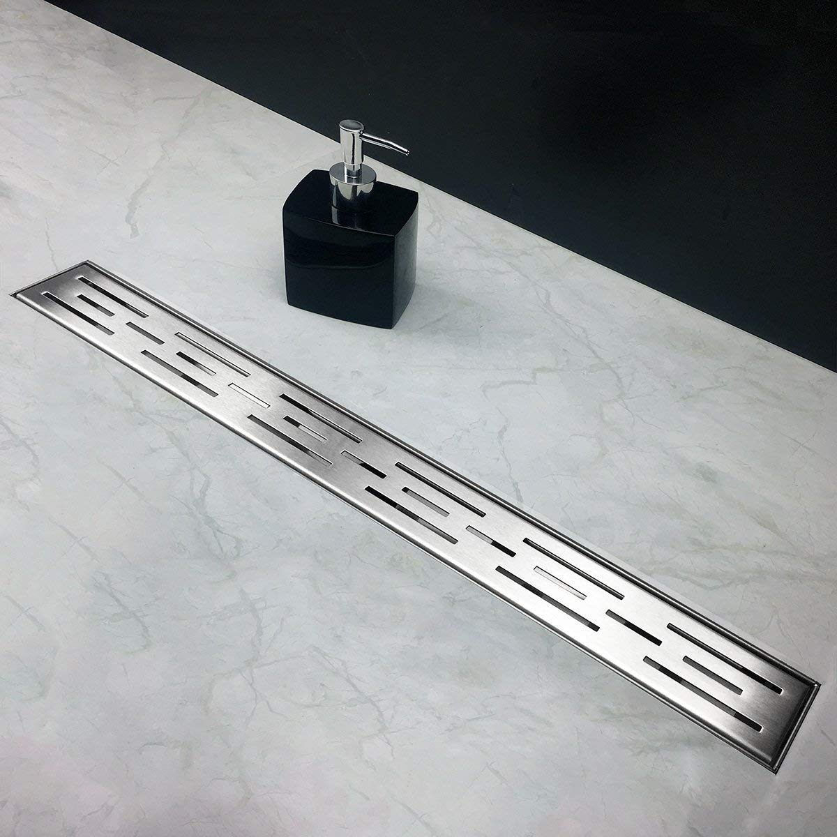 Neodrain 32 Inch Rectangular Linear Shower Drain with Brick Pattern Grate, Brushed 304 Stainless Steel Bathroom Floor Drain,Shower Floor Drain with Includes Adjustable Leveling Feet, Hair Strainer