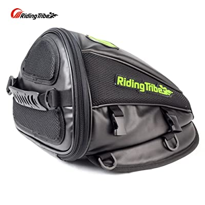 Riding Tribe Motorcycle Tail Bag Multifunctional Waterproof Backpack PU Leather Luggage Riding Backseat Rear Storage Bag: Automotive