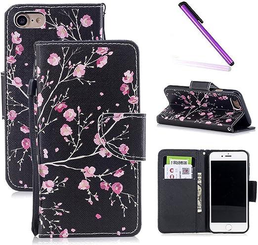 Leecoco Coque pour iPhone 6S Plus, iPhone 6 Plus, motif floral avec emplacements pour cartes et espèces [béquille] en cuir synthétique pour iPhone 6 ...