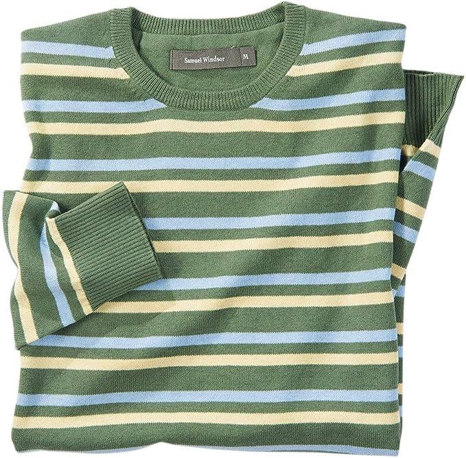Mens Jumper WoolCotton Blend Stripe Full Zip Hoody Jumper//Sweater Free Delivery