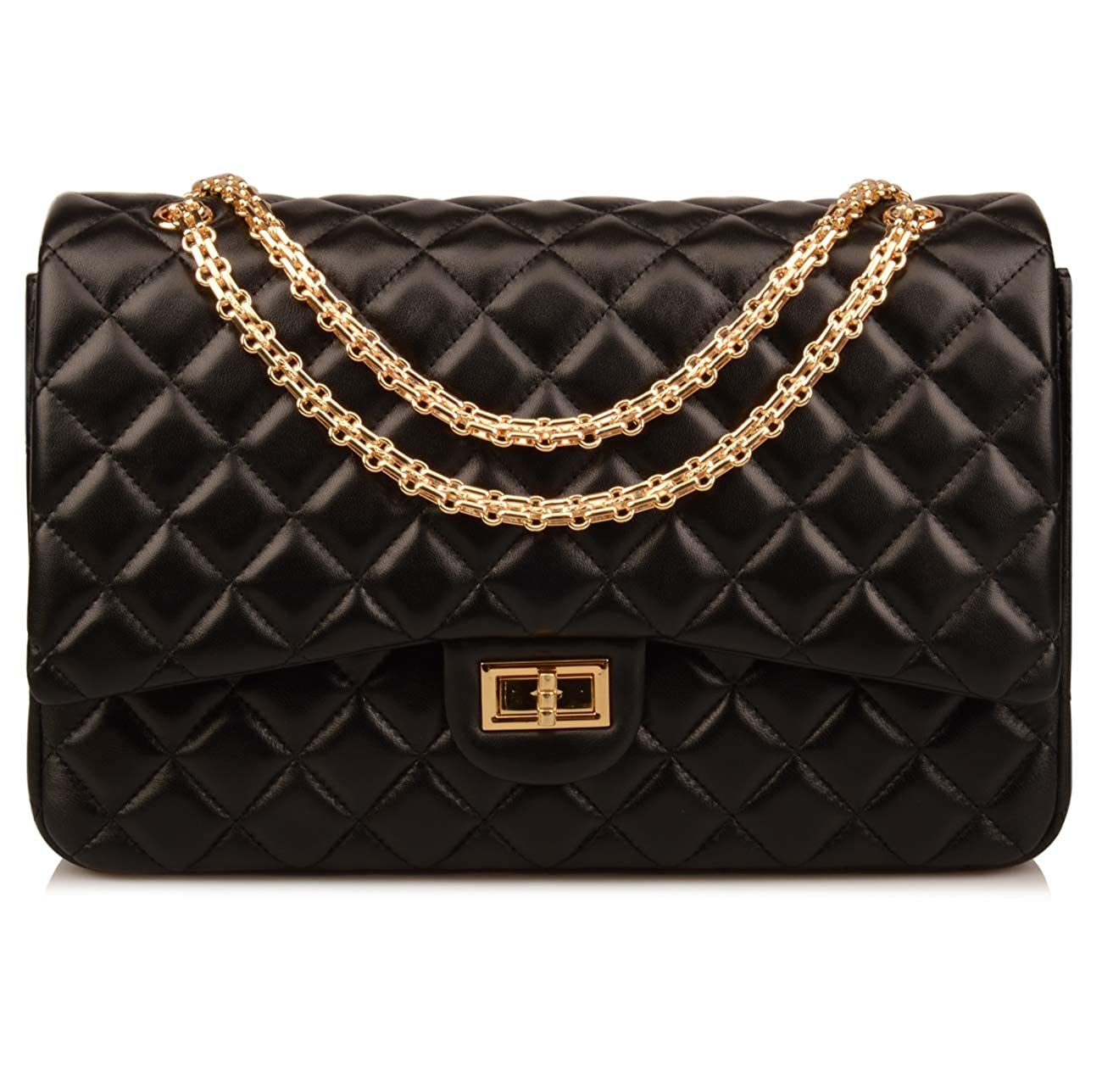 ac96e92eebe5 Amazon.com: Ainifeel Women's Quilted Oversize Genuine Leather Shoulder  Handbag Hobo Bag Purse (X-Large, Black (Gold)): Shoes