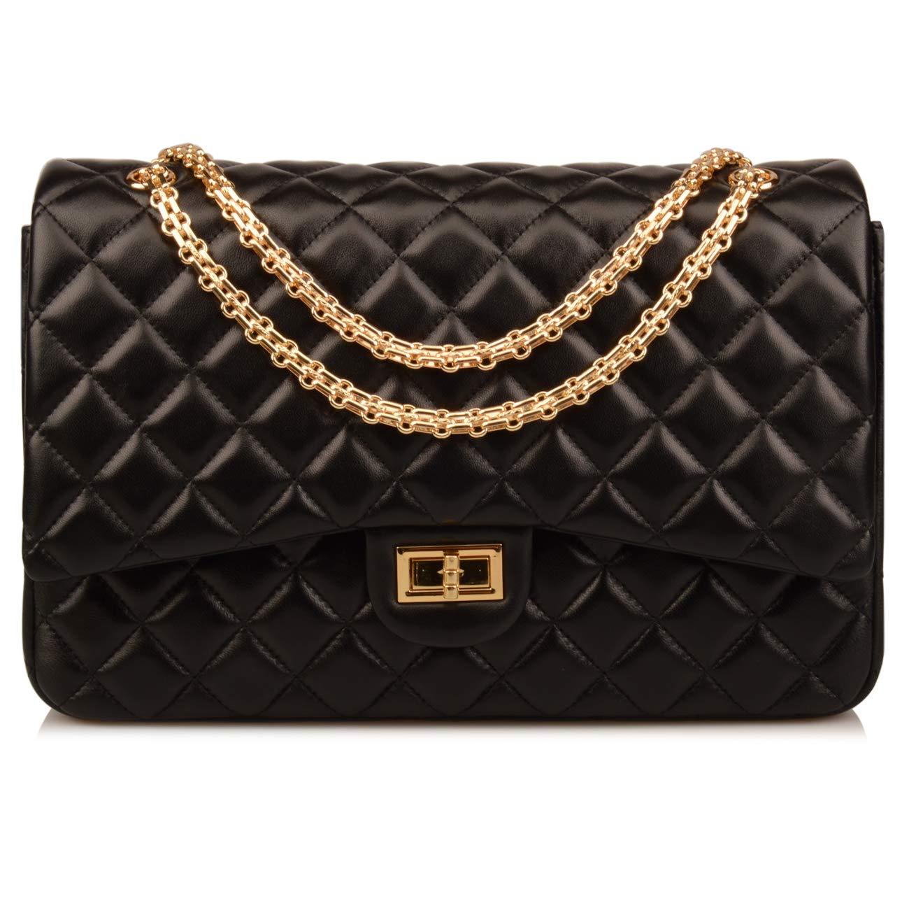 Ainifeel Women's Quilted Oversize Genuine Leather Shoulder Handbag Hobo Bag Purse (X-Large, Black (Gold))