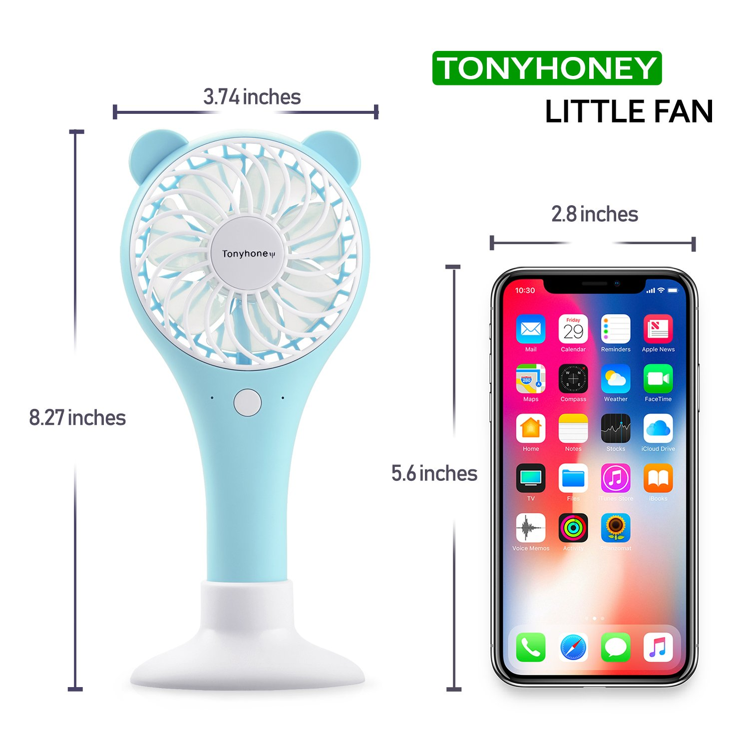 2000mAh Battery 2 Modes for Home Office Travel Outdoor Blue Tonyhoney Mini Handheld Portable Fan Hand Held Personal Fan Rechargeable Battery Operated Powered Cooling Desktop Electric Fan