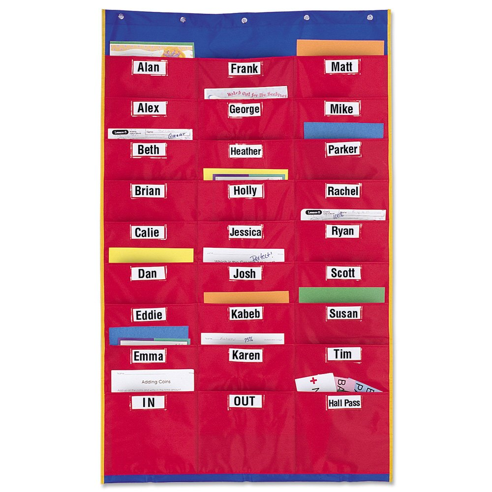 pocket chart for unfinished learning center work storage