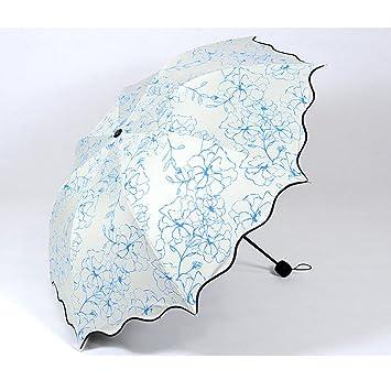 RF Paraguas paraguas UV soleado día lluvioso dos paraguas con paraguas que blue