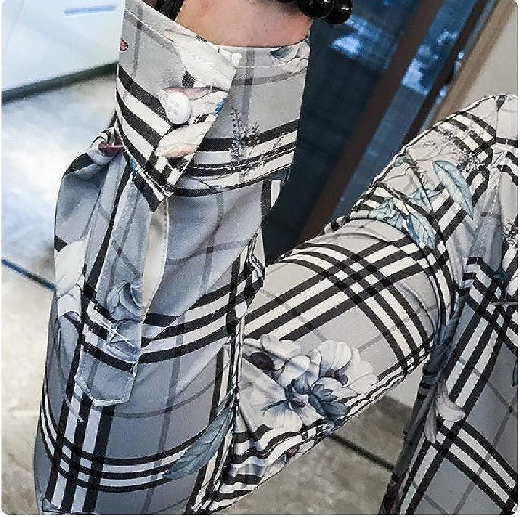 SportsX Mens Slim Fit Plaid Pattern Long Sleeve Print Nightclub Shirts