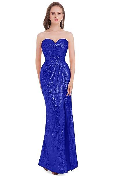 jydress encanto de mujer sin tirantes lentejuelas Formal vestido de fiesta Prom noche vestidos 2017 Azul