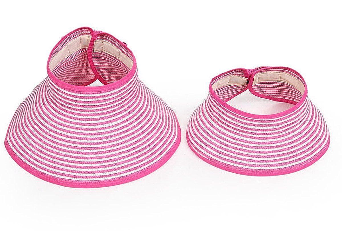 Sombreros Plagables de Paja de Ala Ancha Protecci/ón Solar en Playa Vacaci/ón Viajes al Aire Libre para Ni/ñas Chiquitas Happy Cherry