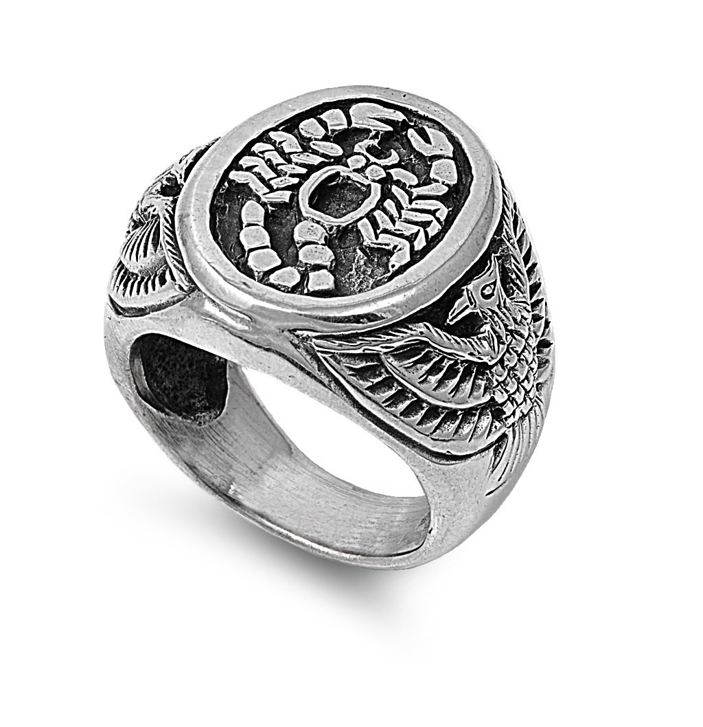 925 Sterling Silver Scorpion King Coat of Arms Ring Size 13