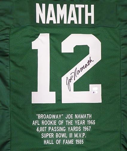 New York Jets Joe Namath Autographed Green Jersey Sewn In Stats Beckett BAS  Stock  128885 0afbfff0b