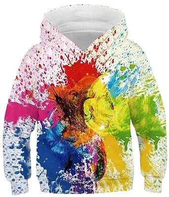 Ocean Plus Jungen Kapuzenpullover Bunt Teens Hoodie Kinder Langarm Pulli  mit Kaputzen Sweatshirt Pullover (XS a9df9ab83d