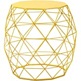 Amazon homebeez patio glass side table metal structure homebeez wire round iron metal stool side table coffee tablesofa table hatched diamond greentooth Gallery